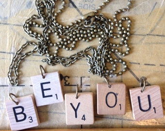 """Scrabble Tile Necklace With 24"""" Bronze Chain"""