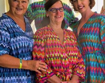 Mismatched Aztec Bridesmaids Robes Set - Kimono Robes Wrap bridesmaids gifts, getting ready robes, Bridal shower favors, pre-wedding pics