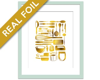 Kitchen Utensils - Gold Foil Print - Cooking Art - Gold Foil Kitchen Art - Kitchen Art - Kitchen Decor - Gift for Chef - Retro Kitchen Art