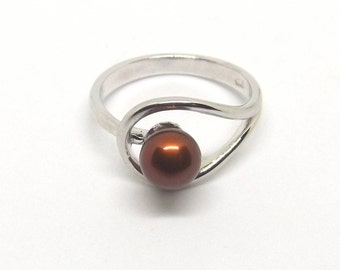 6 mm Chocolate Pearl Ring