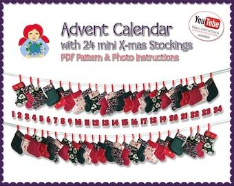 Advent Calendar with 24 Mini X-Mas stockings Pattern DIY Tutorial PDF