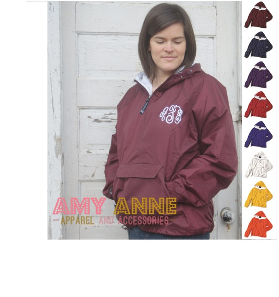 Charles River Maroon Monogrammed Classic Solid Pack and Go Rain Jacket by Charles River ~Personalized ~ Pullover ~ Half Zip