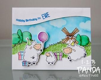 Sheep Scene Birthday Card