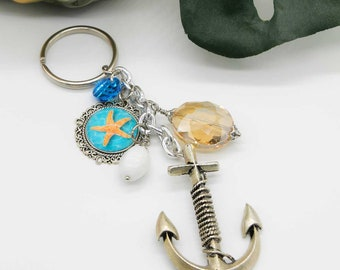 Nautical Anchor and Starfish Cameo with Beads Keychain Key Fob