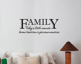 Family Today's Little Moments Quote Wall Decal Vinyl Lettering Inspirational Sticker Saying Art Decorations for Home Room Bedroom Decor hq42