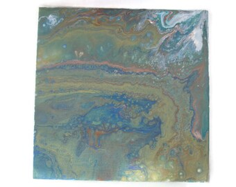 10 x 10 original Abstract Art acrylique versez panneau de toile d'Art plat de 8 x 8