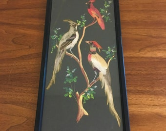 Vintage Mexican Feather Art Fethercraft Bird Painting,Handpainted Birds,with Real Feathers Under Glass,Framed-Mexican Folk Art,Boho Wall Art