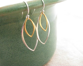 Mixed Metal Earrings, Gold and Silver Earrings, Silver and Gold Earrings, Marquise Earrings