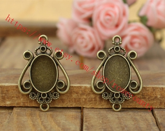 Wholesale 100pcs 30x20mm antiqued bronze oval bezel trays(cabochon size is 14x10mm) setting  pendant findings