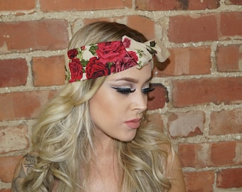 Festival Rose Vintage wired Rockabilly Pin up Headband Headwrap