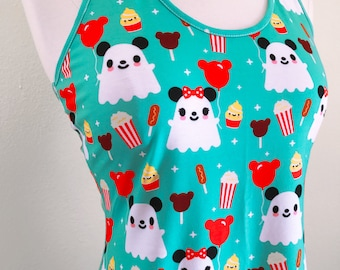 Mickey Ghost & Theme Park Snacks Racerback Fit and Flare Dress - Size S-3X