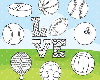 80% OFF SALE Sports love digital stamp commercial use, black lines, vector graphics, digital stamp, digital images - DS1089