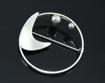 Beau Sterling Silver Pin Mid Century Modern Sculptural Abstract Brooch Vintage