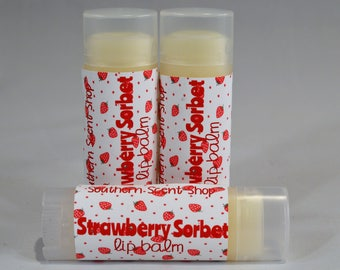 Strawberry Sorbet Lip Balm, Strawberry Sorbet Chapstick, Sweetened Lip Balm, Strawberry Lip Balm, Strawberry Chapstick, Lip Moisturizer