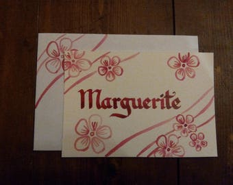"""Card Calligraphed """"Name"""" Customize """"Flower"""" Style - choice of colors - 100% handmade"""
