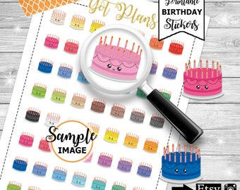 Printable Birthday Planner Stickers, Printable Stickers, Birthday Party Stickers, Birthday Cake Planner Stickers, Birthday Planning