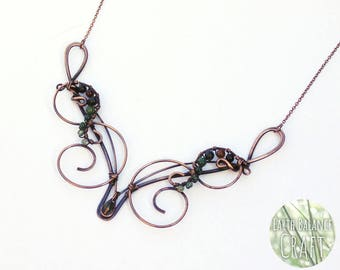 Moss of the Woods Necklace, Elven Jewellery, Copper Wire Work, Gothic Gifts, Antiqued Copper Necklace, Bridal Necklace,  Crystal Necklace