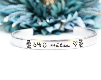 Charming Personalized Miles Apart Long Distance Relationship | Hand Stamped Bracelet  | Girlfriend Gift | Deployment Gift