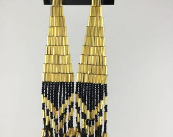 Gold and Black Native American Inspired Beaded Earrings