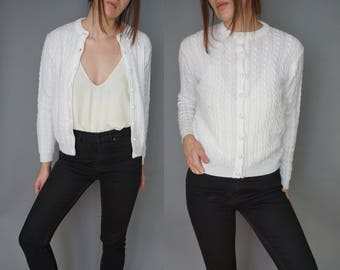 1960s White Knit Sweater Cardigan | Chunky Knit Sweater Cable Knit Fisherman | Cropped Fitted Cardigan Sweater | Deans of Scotland | S M
