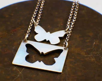 butterfly pendant, sterling silver, hand pierced, butterfly necklace, handmade
