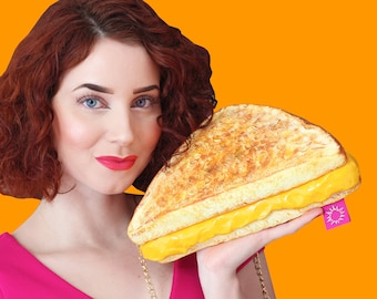 Grilled cheese grilledcheese purse bag accessories yellow hungry food purse bread foodgasm art design designer rommydebommy fun cute yumm