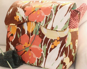 "70's Inspired, Floral Knitting Bag, Yarn Dispenser, crochet supplies, Pro-knitter bag, women's handbag, yarn storage, 12"" x 11"" x 7"", large"