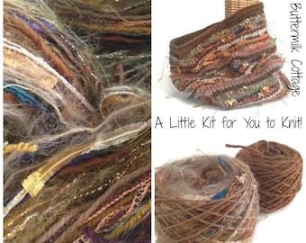 Brown Knit Cowl Kit  Wool Cowl Knitting Kit Wool Art Yarn Knitting Kit Ready to Knit DIY Knitting Kit FUSION Yarn Kit for Knitting