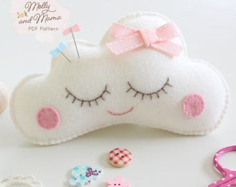 PDF Felt 'Sleepy Cloud' Pin Cushion Softie / Toy Pattern and Template
