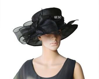 Black Ladies Hat organza hat Kentucky derby Hat.