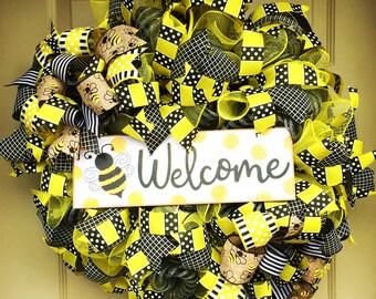 Bee Deco Mesh Wreath, Front Door Wreath, Yellow Wreath