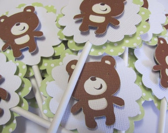 Teddy Bear Cupcake Toppers, Set of 12, Birthday decorations, baby shower decorations