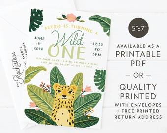 "Wild Jungle Cheetah | Birthday Party or Baby Shower Invitation | Custom Design | Printable PDF or Quality Printed | A7 5""x7"""