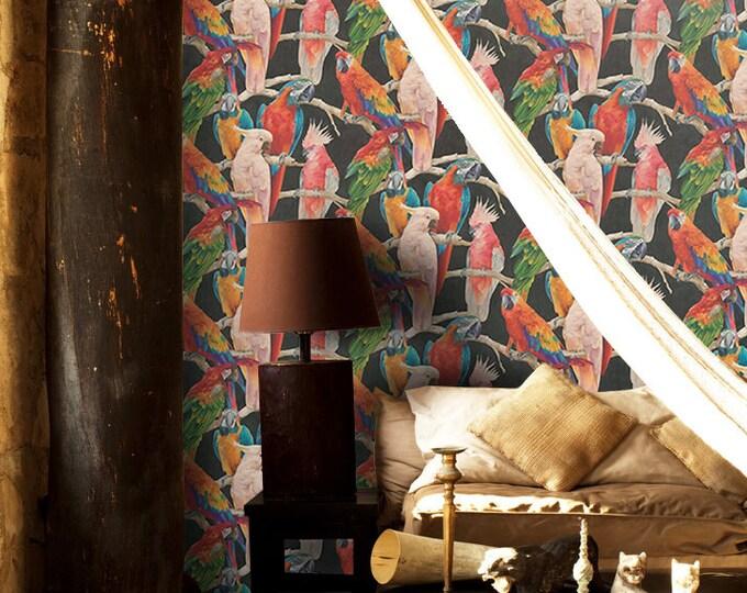 Parrots Wallpaper, Tropical wallpaper,  parrot, wallpaper, parrot wallpaper, parrots, wall art, birds, birds wallpaper, tropical decor,
