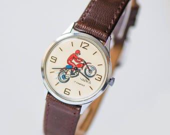 Rider watch vintage, unisex motorcyclist watch, Soviet teen watch fun, sport lover watch, boyfriends watch gift, new genuine leather strap