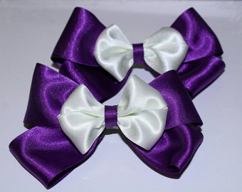 Purple and Cream Hairbows