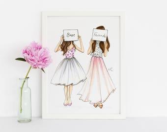 Besties (Fashion Illustration Print) (Fashion Illustration Art - Fashion Sketch prints - Home Decor - Wall Decor )