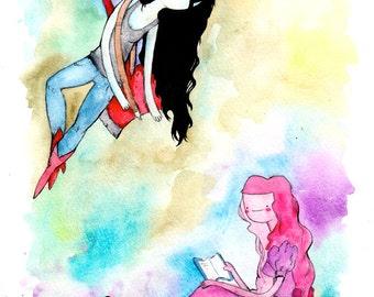 Marceline the Vampire Queen & Princess Bubblegum, 8.5x11 inch inkjet print / Adventure Time Fan Art