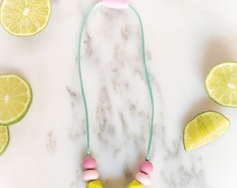 Mini Me Necklace - Toddler Necklace - Safety Clasp - Lime Pink