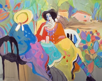 Acrylic on Canvas Original Unique Art Painting Signed by Isaac Maimon Tea Time