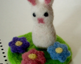 Felted Bunny - Fuzzy Bunny Needle Felted Mini Playset - Waldorf Set - Easter Basket Gift- Wool Felt Rabbit Play Set - Wool Spring Decoration