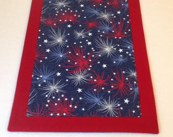 Patriotic Red, White and Blue Star Pattern Table Runner