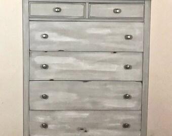 SOLD!!! Antique Gray Dresser Tallboy Dresser