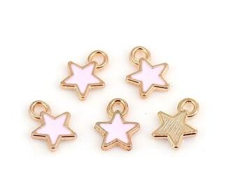 5 enameled star charm rose gold 9 x 7 mm