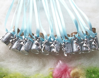 Fairy Wedding Favors, Tiny Silver Fairy Glitter Party Favors 10 Pixie Sparkle Necklaces Flower Fairy Happy Birthday Charm Necklace Wedding