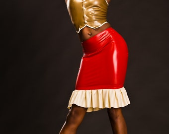 LATEX SAMPLE SALE- White Rabbit waistcoat and pencil skirt, size 6-8 gold and red