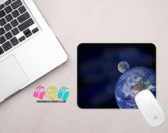 Earth and Moon Mouse Pad - Celestial Mouse Pad - Outer Space Mouse Pad - Custom Mouse Pad - Office Gift  - Personalized Gift - Planet Gift