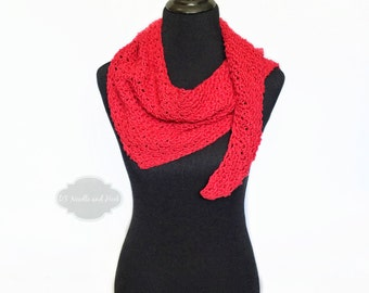 Red Boho Crochet Shawl, Red Striped Triangle Scarf, Convertible Cotton Scarf, Soft Shoulder Wrap, Crochet Boomerang Shawl, Red Crochet Cowl