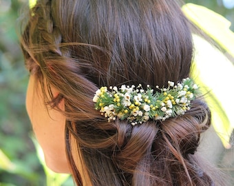 """Flower Comb """"Marlène"""", bridal hair comb, natural preserved flowers Hair accessory, floral comb for bun or braids, Floral headdress"""