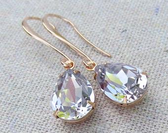 Swarovski Pale Mauve Crystal Long Teardrop Dangling Rose Gold Earrings, Bridal Wedding Jewelry, Bridesmaids Gifts